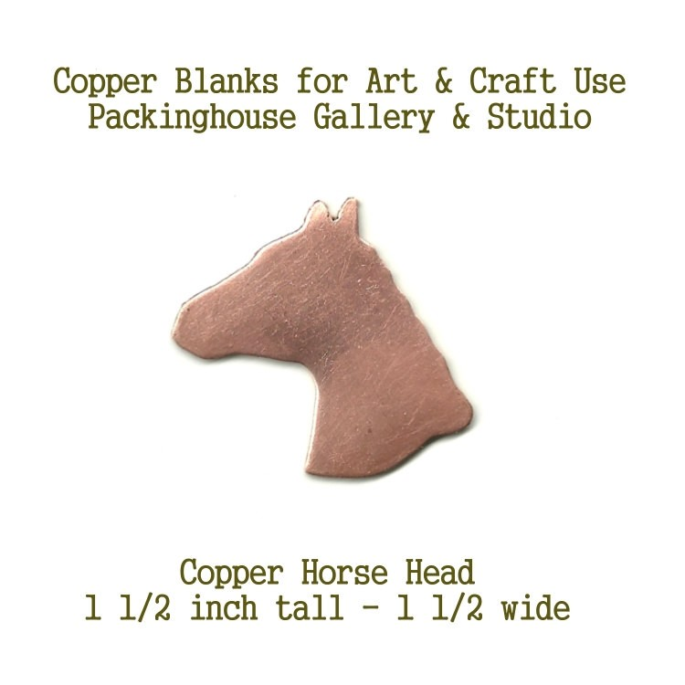 Horse Head copper blank, metal cut out made of copper for metal working, enameling and jewerly making